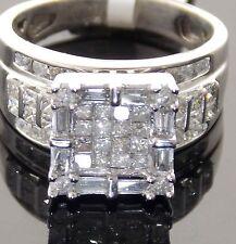 GLAMOROUS 14KT WHITE GOLD BRIDAL 2 1/6CTW PRINCESS-CUT DIAMOND RING SIZE 7.5