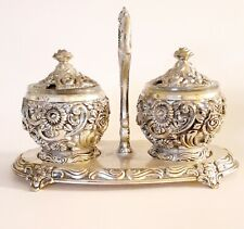 Silver Plate Condiment Serving holder Replacement Floral HF-0917 Made in Japan