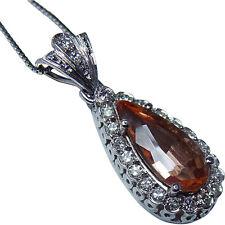 H Stern Imperial Topaz Diamond Vintage Pendant 18K White Gold Designer Signed