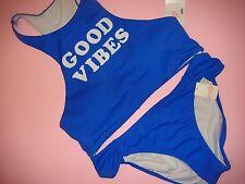 NWT Victoria's Secret PINK Bralette TANK BIKINI M/S Blue white GOOD VIBES