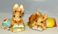 Woodlander Figurine Alex & Sue Moorcraft Stoneware Rabbit Books Student Lot of 2