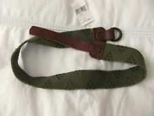 Ralph Lauren Cintura Borchiata palmato verde con cinturino in pelle e doppia fibbia BN