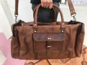 "24"" Men's Leather Bag large vintage duffel travel Holiday weekend overnight bag"