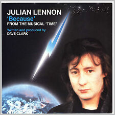 """JULIAN LENNON """"Because"""" Musical """"Time"""" by Dave Clark Single 7"""" UK 1985"""