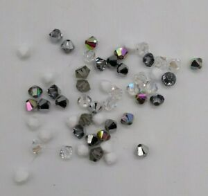 53pc Swarovski Crystal 4mm Bicone Beads; Crystal Effects; CLEARANCE