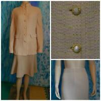 ST. JOHN Collecton Knits Beige Pink Jacket Skirt L 14 12 2pc Suit Multi-color