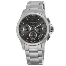 New Longines Conquest V.H.P. Stainless Steel Black Men's Watch L3.717.4.56.6