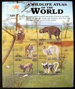LIBERIA WILDLIFE ATLAS STAMPS SHEET 2003 mnh WILD ANIMALS ELEPHANT TIGER MONKEY