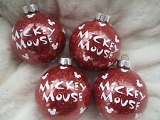 Set of 4 Mckey mouse w/ ears Red glass  Chritmas ornaments balls hand crafted