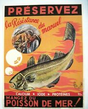 "Great 1945 Vintage French Poster w/ Picture of Big Fish by ""Ray Muss""  *"