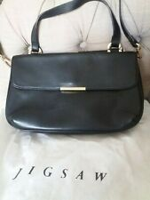 Black leather handbag, jigsaw brand, crossbody style