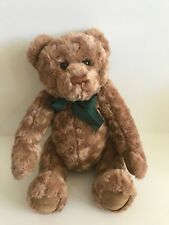 """Macy's New York Gund 16"""" Jointed Brown Teddy Bear with Green Ribbon"""