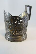 RUSSIAN SOLID SILVER HALLMARKED 875 ENAMELED NIELO VINTAGE TEA CUP HOLDER