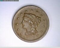 1852  Braided Hair Large Cent 1c old penny ( 33-300 M6 )