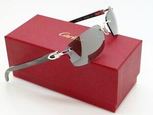 "CARTIER ""Buffs"" CT0046S 001 Silver-Black Buffalo Horn C-Decor Rimless Sunglasses"