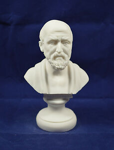 "Hippocrates sculpture ancient Greek ""Father of Modern Medicine"" bust alabaster"