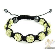 Mens Grey Magnetite Macramé Bead Bracelet Pale Yellow Rhinestone 10mm