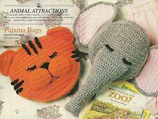 *Tiger & Elephant Pajama Bags crochet PATTERN INSTRUCTIONS
