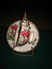 VINTAGE FLORAL DESIGN TEA CUP AND SAUCER~MADE IN JAPAN~WITH STAND~BEAUTIFUL~