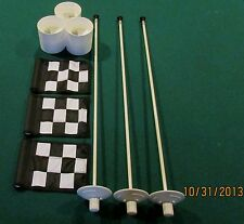 "PUTTING GREEN PACKAGE- 3 POLES- 3 B/W CHK FLAGS 6""X8"" - 3 ALUMINUM - 4 1/4"" CUPS"