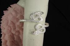 Women Silver Gold Metal Fashion Snake Bracelet Arm Cuff Chain Elastic Band Size