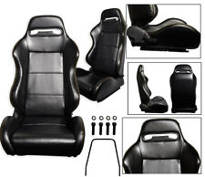 NEW 1 PAIR BLACK + YELLOW STITCHING LEATHER ADJUSTABLE RACING SEATS ALL HONDA