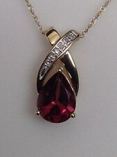10K Yellow Gold Pear Shape Rhodalite Garnet and Diamond Accent Pendant Chain