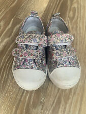 JoJo Maman Bebe Girls Canvas Shoes, Floral, Infant Size 6, Free P&P