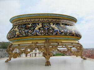 """grande jardinière faience Gien 19 éme:""""Renaissance"""" superbe monture bronze dorée"""