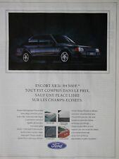 PUBLICITÉ DE PRESSE 1989 FORD ESCORT XR3i MOTEUR 1600 INJECTION