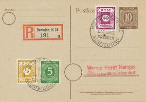 SBZ OST-SACHSEN 1946, 15 u. 40 Pfg. selt. MiF m. All. Besetzung als Einschreiben