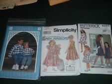 3 Vtg Lot Butterick 6091 Simplicity 7550 Back Porch Girls Sz7-12 Patterns #pf14