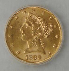 1899 Liberty Head Half Eagle Gold $5 Coin, ICG MS 64, Beautiful Coin!