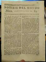 1779 NOTIZIE DEL MONDO SULLA GUERRA EUROPEA; MARCHESE LA FAYETTE; SANTO DOMINGO