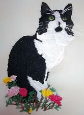 "Embroidered Quilt Block Panel ""Black & White Cat"" Pure Irish Linen Fabric"