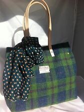 Green blue Harris tweed bag tote gift for woman Scottish tartan handbag