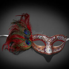 Masquerade Mask Feather Red Venetian Mardi Gras Masks for Women M1171B