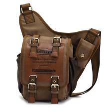 Da Uomo Vintage Canvas Cuoio Militare Utilità a Tracolla Messenger Bags