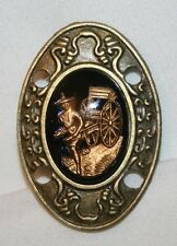 Handsome Brasstone Oriental Man With Cart Glass Cameo Brooch Pin