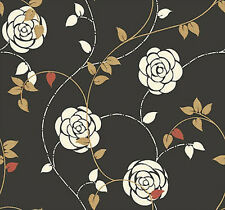 Antonina Vella Roses on Black Wallpaper GK8637