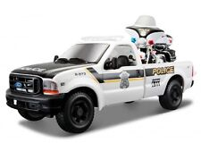 FORD F 350 with HARLEY DAVIDSON MOTORBIKE 1:24 Police Diecast Car Model Bike Toy