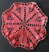 "Vintage Retro, Hand-Crocheted Pink DOILY, Scalloped Edge, Cotton, 7 1/4"" across"