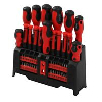 50pc Screwdriver & Bit Set with Rack Magnetic Mechanics Precision Torx Hex Star