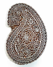 Paisley Shaped 13.3cm Indian Fine Hand Carved Wooden Printing Block (PA87)