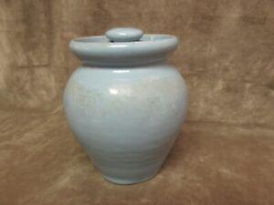 Vintage Cornelison Art Pottery Bybee Kentucky Turquoise Blue Glaze Covered Jar