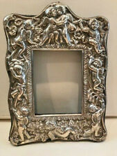 STERLING SILVER VINTAGE 8 INCHES BIG  CHERUB PICTURE FRAME ORNATE REPOUSSE CUPID