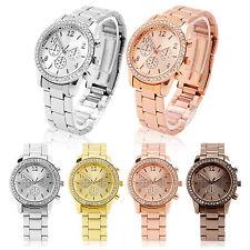 Strass Armbanduhr Damenuhr Quarzuhr Edelstahl Silber Rosa Chronograph NEU