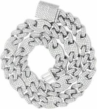 .925 Sterling Silver Out Iced Lab Diamond 14mm Mariner Cuban Link Chain Bracelet