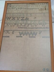 Antique Embroidery Sampler ABC 123 Alphabet Dated 1820's - elizabeth early