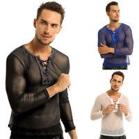 Herren Transparent T Shirt Tops Netzshirt Sportshirt Unterwäsche Clubwear M L XL